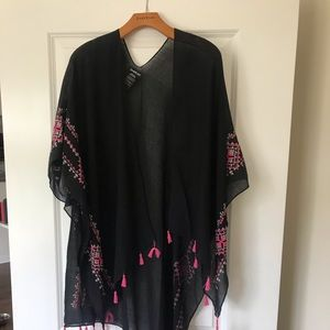 Black and Pink Bebe Poncho